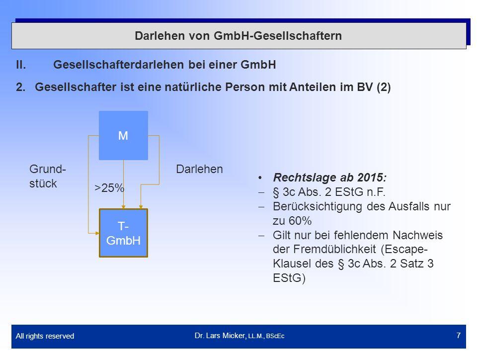 All rights reserved 7 Darlehen von GmbH-Gesellschaftern II.Gesellschafterdarlehen bei einer GmbH 2.Gesellschafter ist eine natürliche Person mit Antei