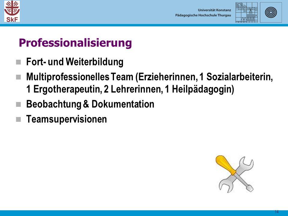 14 Professionalisierung Fort- und Weiterbildung Multiprofessionelles Team (Erzieherinnen, 1 Sozialarbeiterin, 1 Ergotherapeutin, 2 Lehrerinnen, 1 Heil