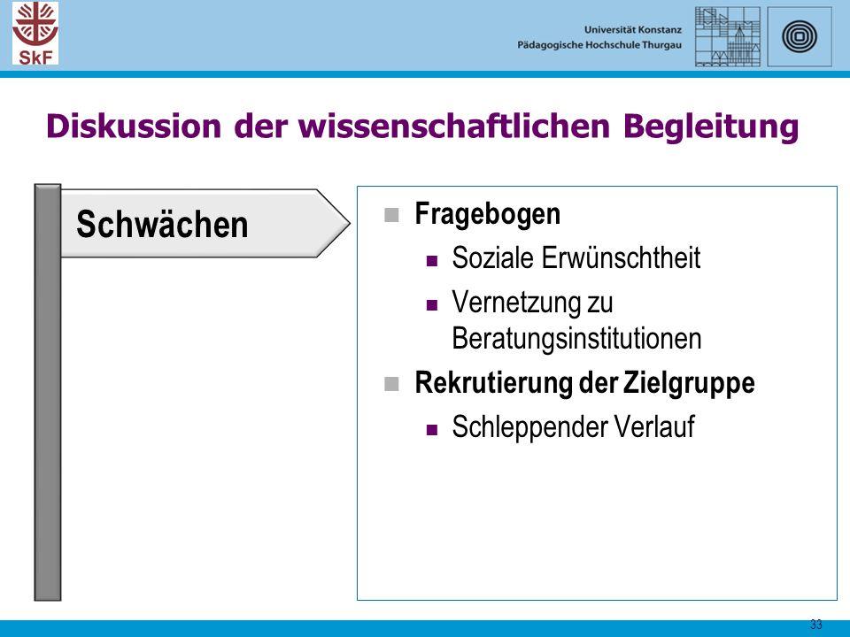33 Diskussion der wissenschaftlichen Begleitung Fragebogen Soziale Erwünschtheit Vernetzung zu Beratungsinstitutionen Rekrutierung der Zielgruppe Schl