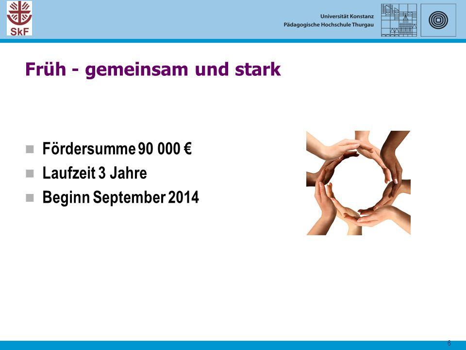 6 Früh - gemeinsam und stark Fördersumme 90 000 € Laufzeit 3 Jahre Beginn September 2014