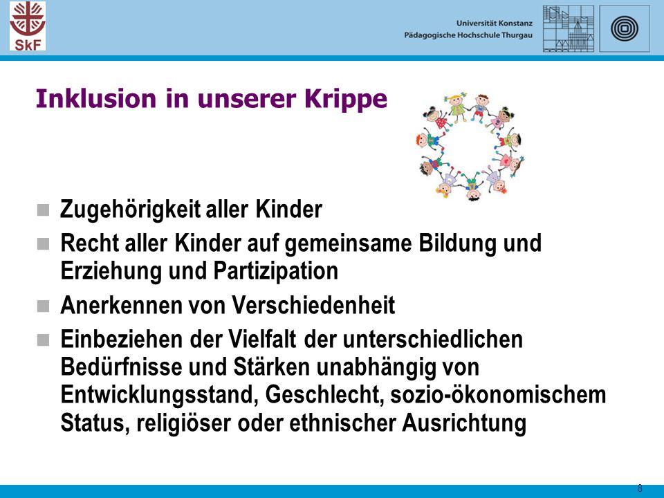 8 Inklusion in unserer Krippe Zugehörigkeit aller Kinder Recht aller Kinder auf gemeinsame Bildung und Erziehung und Partizipation Anerkennen von Vers