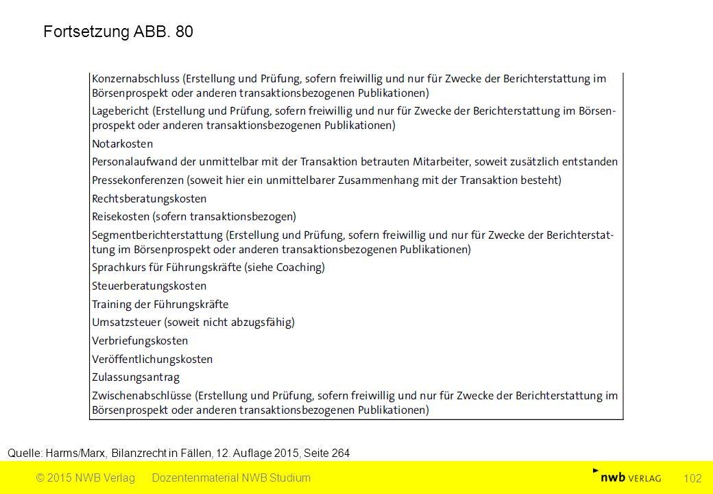 Quelle: Harms/Marx, Bilanzrecht in Fällen, 12. Auflage 2015, Seite 264 © 2015 NWB VerlagDozentenmaterial NWB Studium 102 Fortsetzung ABB. 80