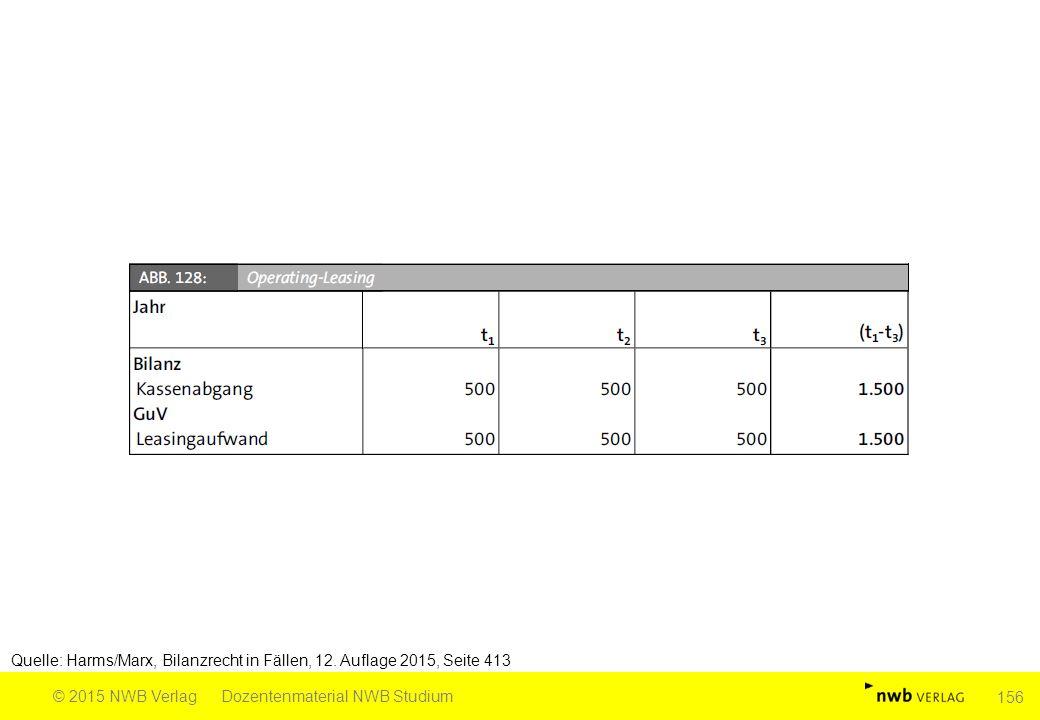 Quelle: Harms/Marx, Bilanzrecht in Fällen, 12. Auflage 2015, Seite 413 © 2015 NWB VerlagDozentenmaterial NWB Studium 156