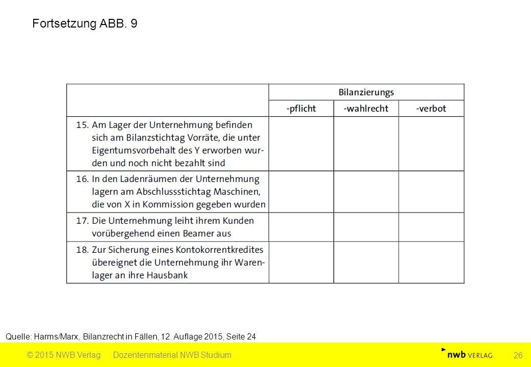 Quelle: Harms/Marx, Bilanzrecht in Fällen, 12. Auflage 2015, Seite 24 © 2015 NWB VerlagDozentenmaterial NWB Studium 26 Fortsetzung ABB. 9