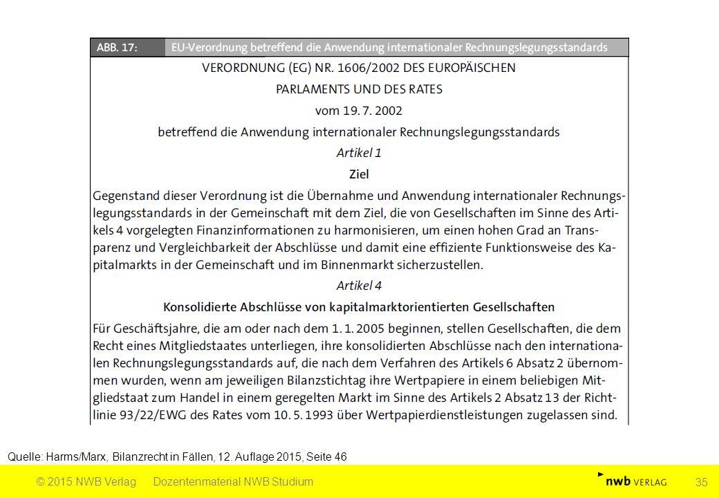 Quelle: Harms/Marx, Bilanzrecht in Fällen, 12. Auflage 2015, Seite 46 © 2015 NWB VerlagDozentenmaterial NWB Studium 35