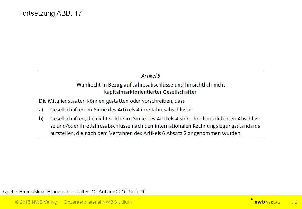 Quelle: Harms/Marx, Bilanzrecht in Fällen, 12. Auflage 2015, Seite 46 © 2015 NWB VerlagDozentenmaterial NWB Studium 36 Fortsetzung ABB. 17