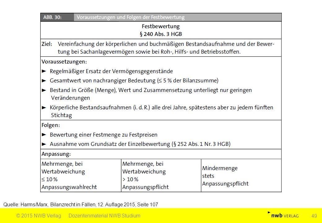 Quelle: Harms/Marx, Bilanzrecht in Fällen, 12. Auflage 2015, Seite 107 © 2015 NWB VerlagDozentenmaterial NWB Studium 49