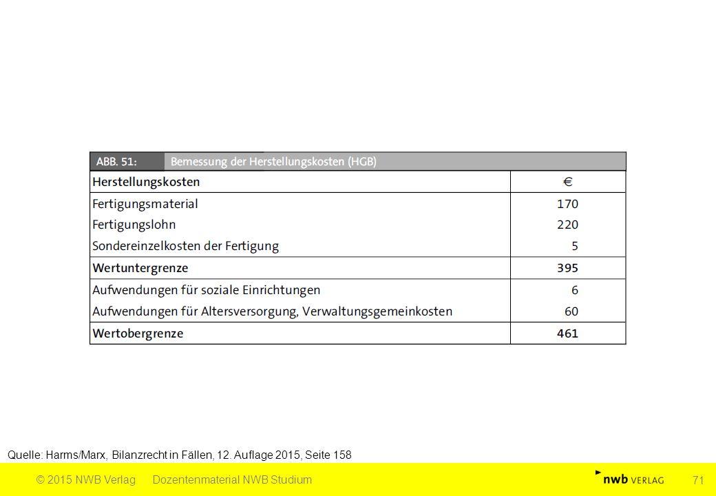 Quelle: Harms/Marx, Bilanzrecht in Fällen, 12. Auflage 2015, Seite 158 © 2015 NWB VerlagDozentenmaterial NWB Studium 71
