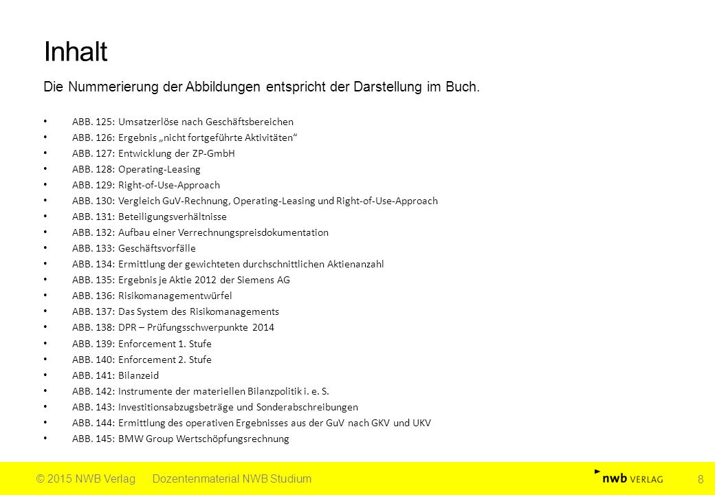 """Inhalt Die Nummerierung der Abbildungen entspricht der Darstellung im Buch. ABB. 125: Umsatzerlöse nach Geschäftsbereichen ABB. 126: Ergebnis """"nicht f"""