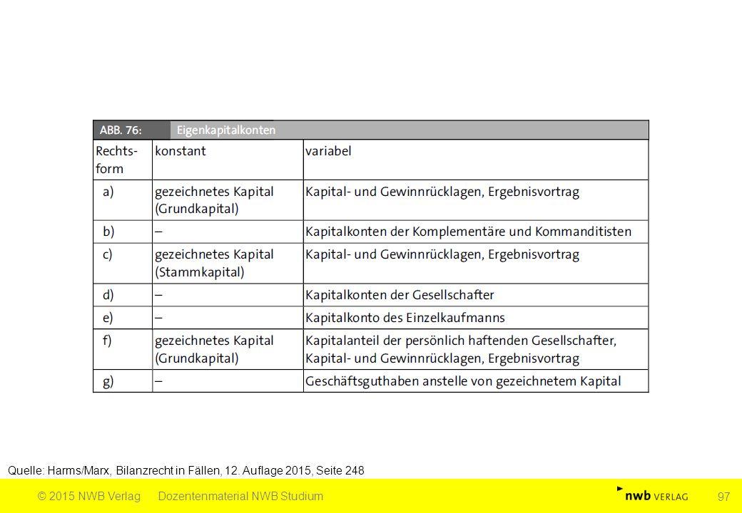 Quelle: Harms/Marx, Bilanzrecht in Fällen, 12. Auflage 2015, Seite 248 © 2015 NWB VerlagDozentenmaterial NWB Studium 97