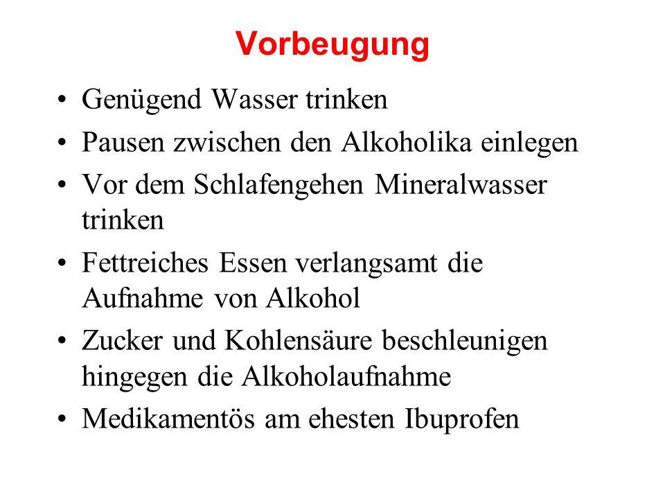 Vorbeugung Genügend Wasser trinken Pausen zwischen den Alkoholika einlegen Vor dem Schlafengehen Mineralwasser trinken Fettreiches Essen verlangsamt d