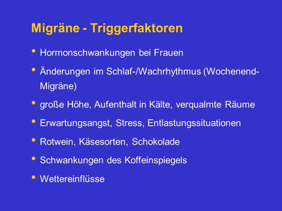 Migräne - Triggerfaktoren Hormonschwankungen bei Frauen Änderungen im Schlaf-/Wachrhythmus (Wochenend- Migräne) große Höhe, Aufenthalt in Kälte, verqu