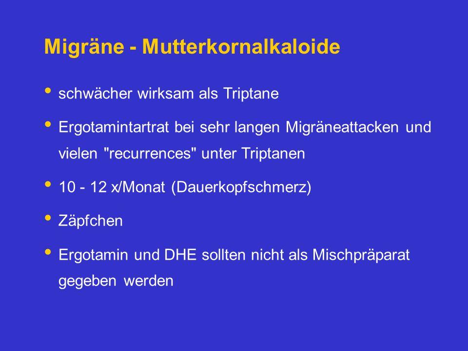 Migräne - Mutterkornalkaloide schwächer wirksam als Triptane Ergotamintartrat bei sehr langen Migräneattacken und vielen