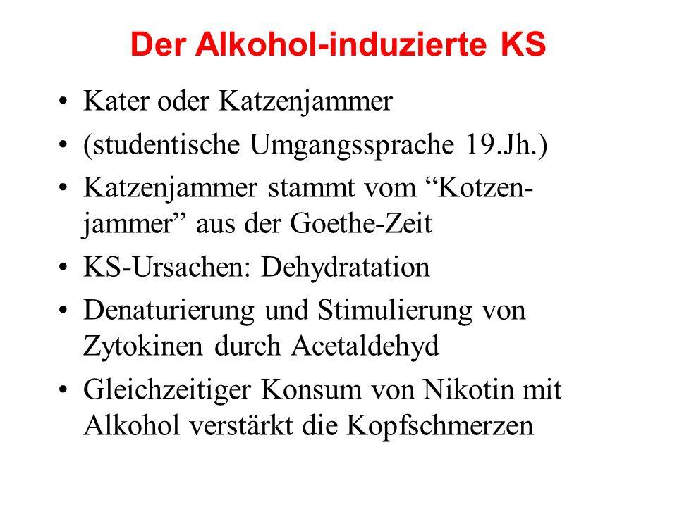 """Der Alkohol-induzierte KS Kater oder Katzenjammer (studentische Umgangssprache 19.Jh.) Katzenjammer stammt vom """"Kotzen- jammer"""" aus der Goethe-Zeit KS"""