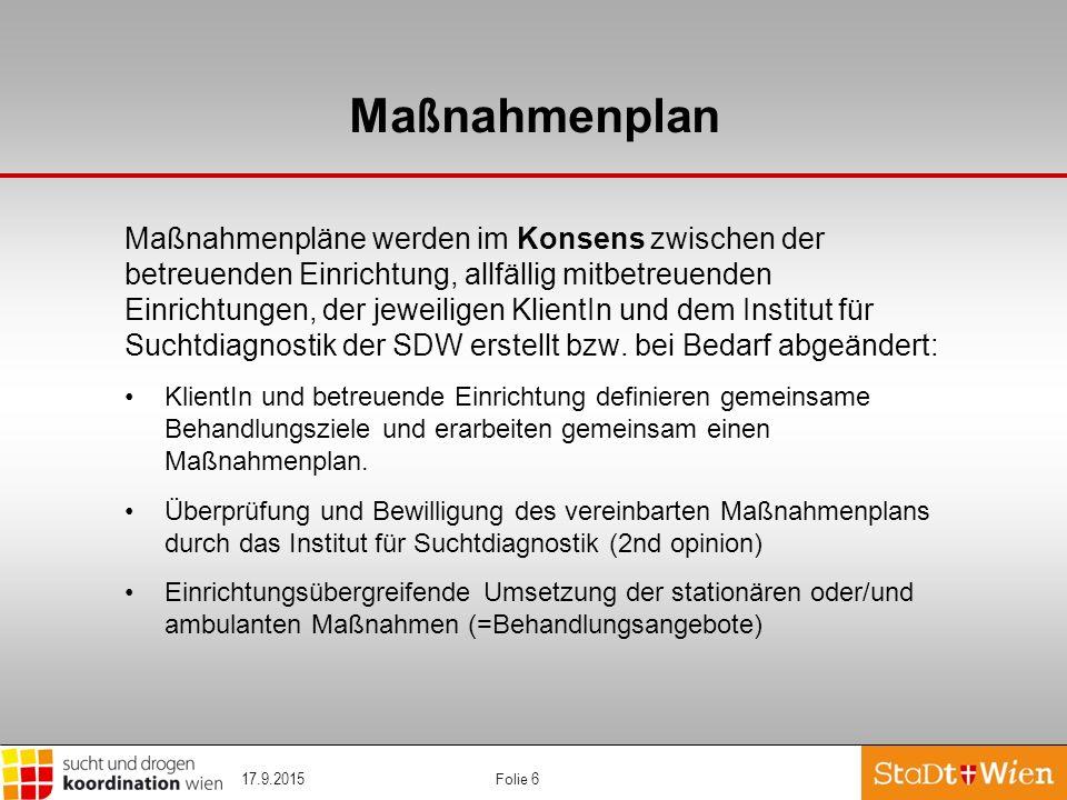 Folie 6 Ma ß nahmenplan Maßnahmenpläne werden im Konsens zwischen der betreuenden Einrichtung, allfällig mitbetreuenden Einrichtungen, der jeweiligen