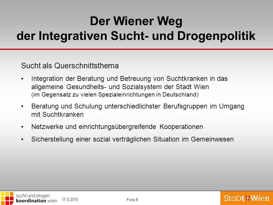 Folie 8 Der Wiener Weg der Integrativen Sucht- und Drogenpolitik Sucht als Querschnittsthema Integration der Beratung und Betreuung von Suchtkranken i