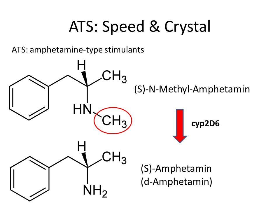 ATS: Speed & Crystal (S)-Amphetamin (d-Amphetamin) (S)-N-Methyl-Amphetamin cyp2D6 ATS: amphetamine-type stimulants
