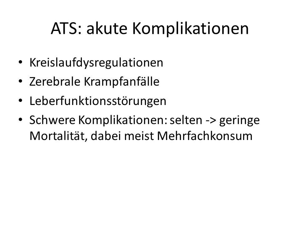 ATS: akute Komplikationen Kreislaufdysregulationen Zerebrale Krampfanfälle Leberfunktionsstörungen Schwere Komplikationen: selten -> geringe Mortalität, dabei meist Mehrfachkonsum