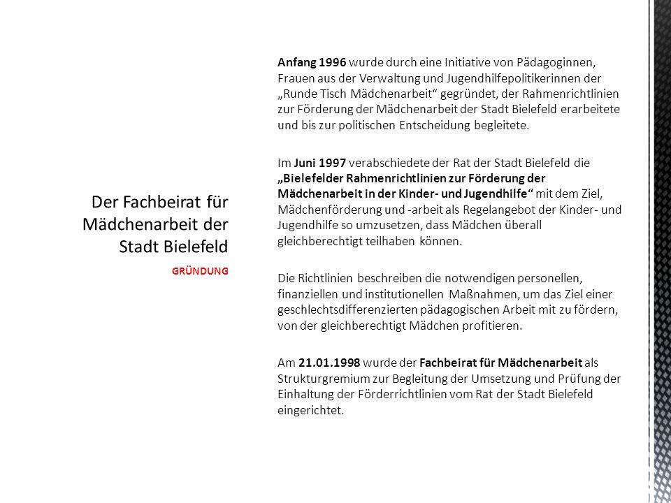 """GRÜNDUNG Anfang 1996 wurde durch eine Initiative von Pädagoginnen, Frauen aus der Verwaltung und Jugendhilfepolitikerinnen der """"Runde Tisch Mädchenarbeit gegründet, der Rahmenrichtlinien zur Förderung der Mädchenarbeit der Stadt Bielefeld erarbeitete und bis zur politischen Entscheidung begleitete."""