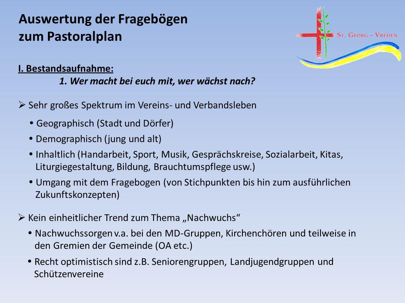 Auswertung der Fragebögen zum Pastoralplan I. Bestandsaufnahme: 1.