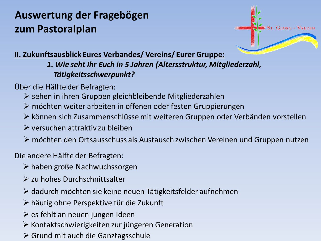 Auswertung der Fragebögen zum Pastoralplan II.