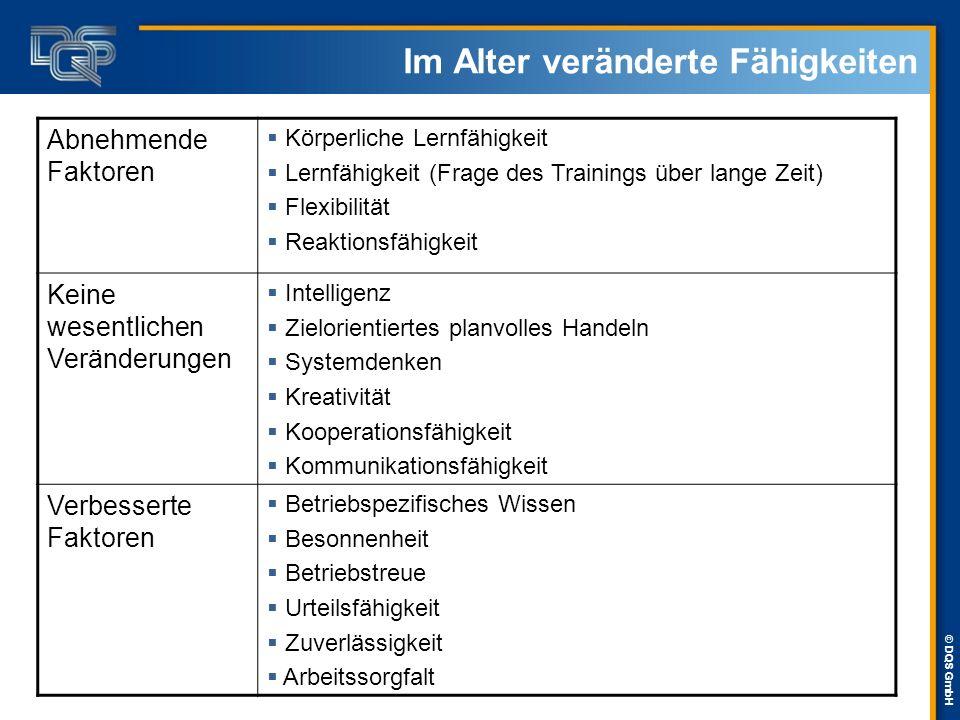 © DQS GmbH Im Alter veränderte Fähigkeiten Abnehmende Faktoren  Körperliche Lernfähigkeit  Lernfähigkeit (Frage des Trainings über lange Zeit)  Fle
