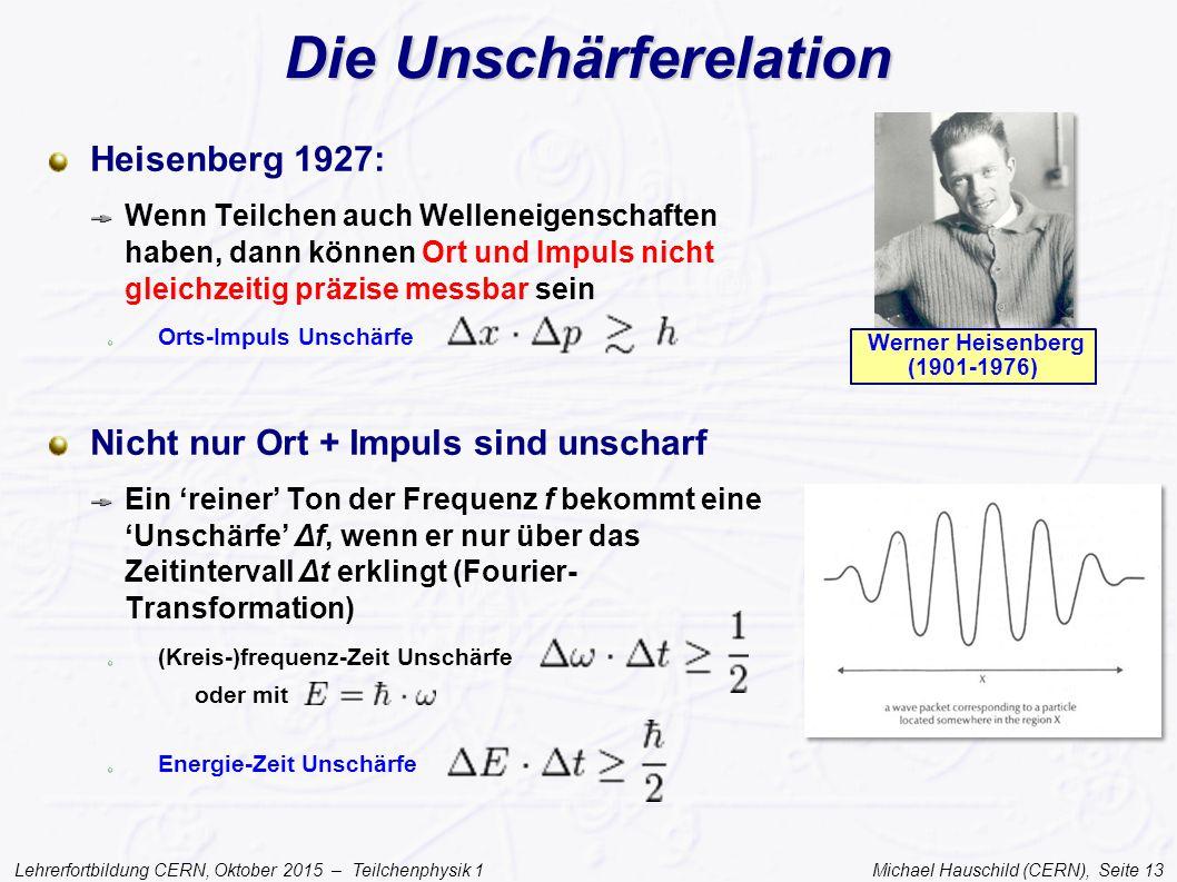 Lehrerfortbildung CERN, Oktober 2015 – Teilchenphysik 1 Michael Hauschild (CERN), Seite 13 Die Unschärferelation Heisenberg 1927: Wenn Teilchen auch W