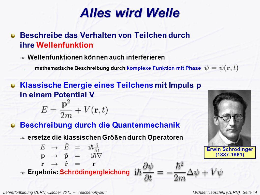 Lehrerfortbildung CERN, Oktober 2015 – Teilchenphysik 1 Michael Hauschild (CERN), Seite 14 Alles wird Welle Beschreibe das Verhalten von Teilchen durc