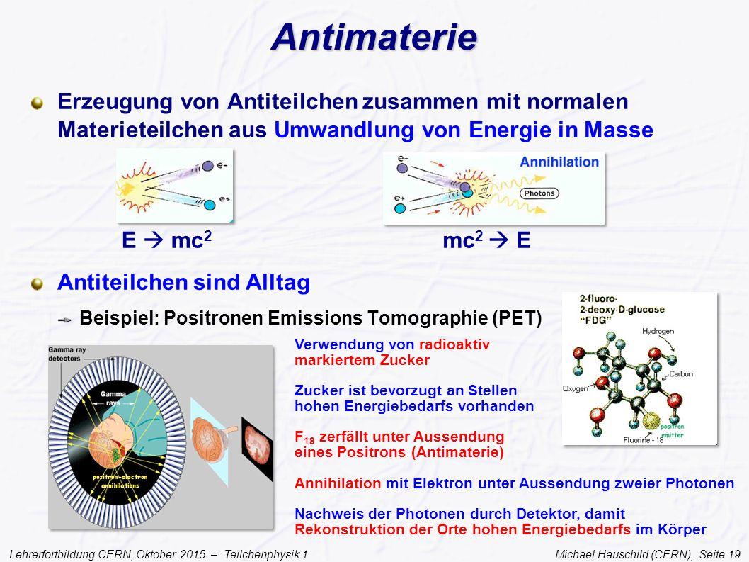 Lehrerfortbildung CERN, Oktober 2015 – Teilchenphysik 1 Michael Hauschild (CERN), Seite 19 Antimaterie Erzeugung von Antiteilchen zusammen mit normale