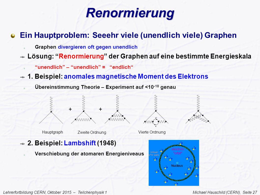 Lehrerfortbildung CERN, Oktober 2015 – Teilchenphysik 1 Michael Hauschild (CERN), Seite 27 Renormierung Ein Hauptproblem: Seeehr viele (unendlich viel