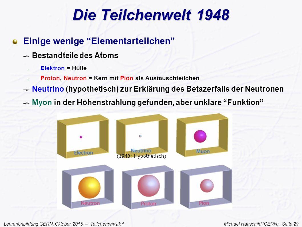 """Lehrerfortbildung CERN, Oktober 2015 – Teilchenphysik 1 Michael Hauschild (CERN), Seite 29 Die Teilchenwelt 1948 Einige wenige """"Elementarteilchen"""" Bes"""