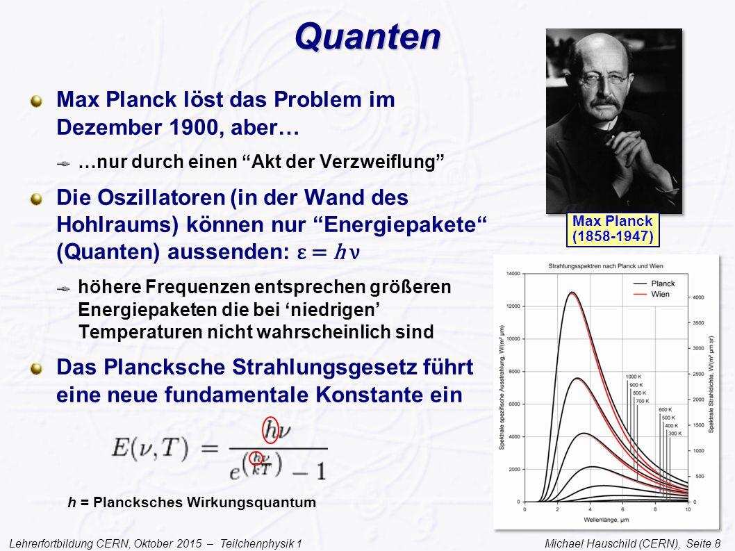 Lehrerfortbildung CERN, Oktober 2015 – Teilchenphysik 1 Michael Hauschild (CERN), Seite 29 Die Teilchenwelt 1948 Einige wenige Elementarteilchen Bestandteile des Atoms Elektron = Hülle Proton, Neutron = Kern mit Pion als Austauschteilchen Neutrino (hypothetisch) zur Erklärung des Betazerfalls der Neutronen Myon in der Höhenstrahlung gefunden, aber unklare Funktion (1948: Hypothetisch)