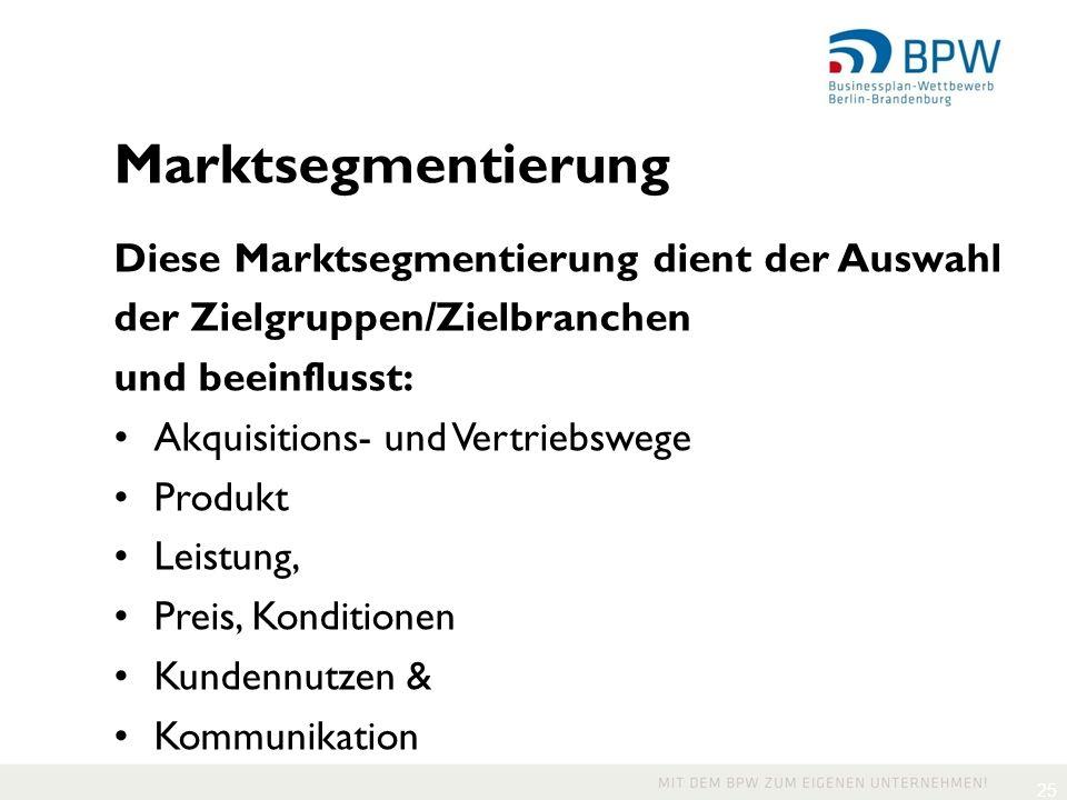 25 Marktsegmentierung Diese Marktsegmentierung dient der Auswahl der Zielgruppen/Zielbranchen und beeinflusst: Akquisitions- und Vertriebswege Produkt Leistung, Preis, Konditionen Kundennutzen & Kommunikation