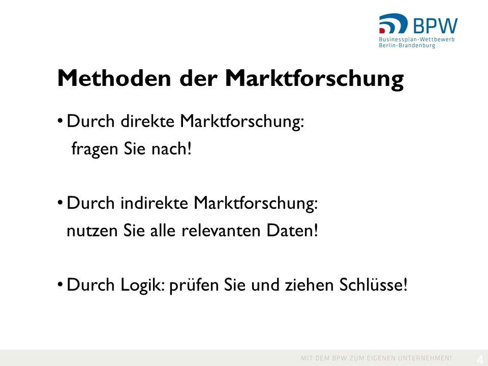 4 Methoden der Marktforschung Durch direkte Marktforschung: fragen Sie nach.