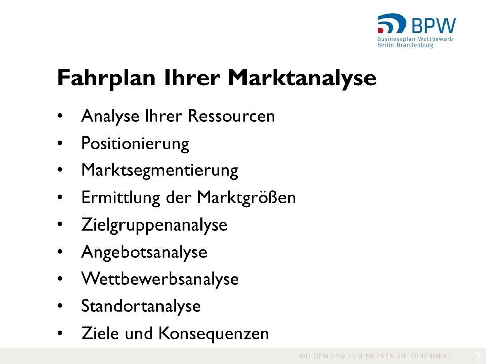 7 Fahrplan Ihrer Marktanalyse Analyse Ihrer Ressourcen Positionierung Marktsegmentierung Ermittlung der Marktgrößen Zielgruppenanalyse Angebotsanalyse Wettbewerbsanalyse Standortanalyse Ziele und Konsequenzen