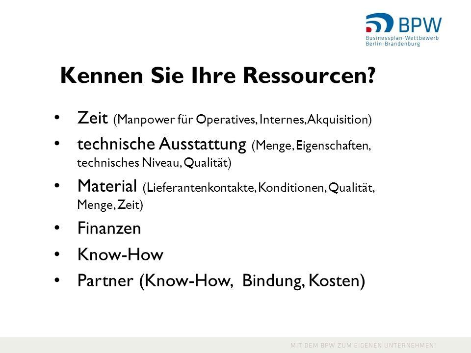 Kennen Sie Ihre Ressourcen.