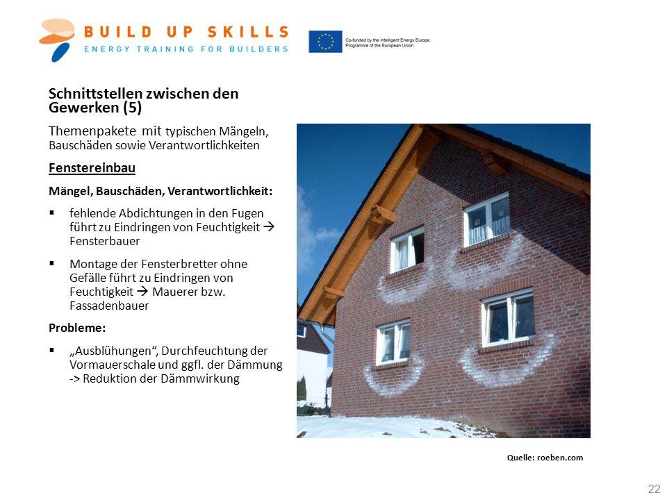 Schnittstellen zwischen den Gewerken (5) Themenpakete mit typischen Mängeln, Bauschäden sowie Verantwortlichkeiten Fenstereinbau Mängel, Bauschäden, V