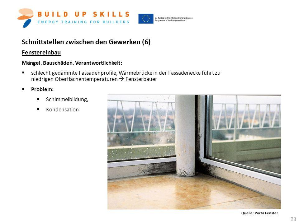 Schnittstellen zwischen den Gewerken (6) Fenstereinbau Mängel, Bauschäden, Verantwortlichkeit:  schlecht gedämmte Fassadenprofile, Wärmebrücke in der