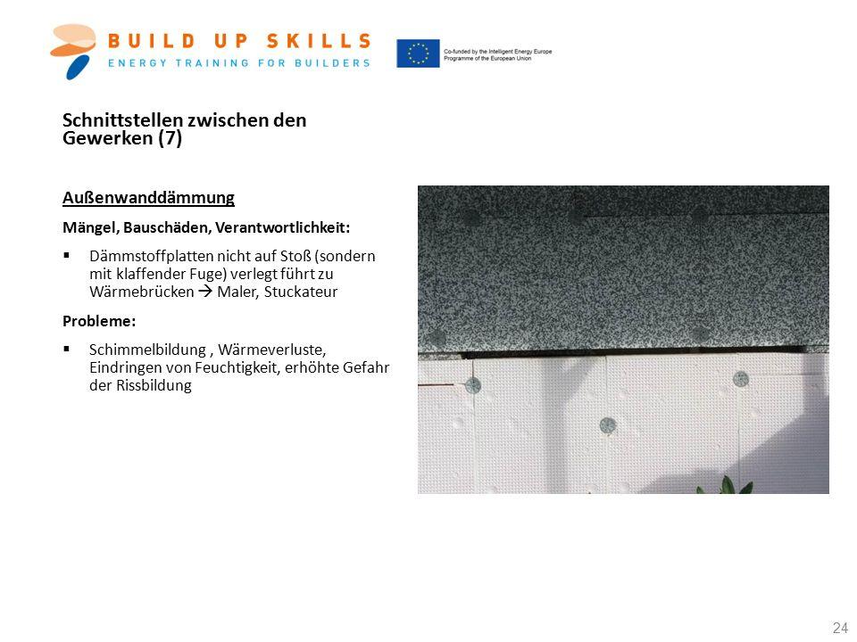 Schnittstellen zwischen den Gewerken (7) Außenwanddämmung Mängel, Bauschäden, Verantwortlichkeit:  Dämmstoffplatten nicht auf Stoß (sondern mit klaff
