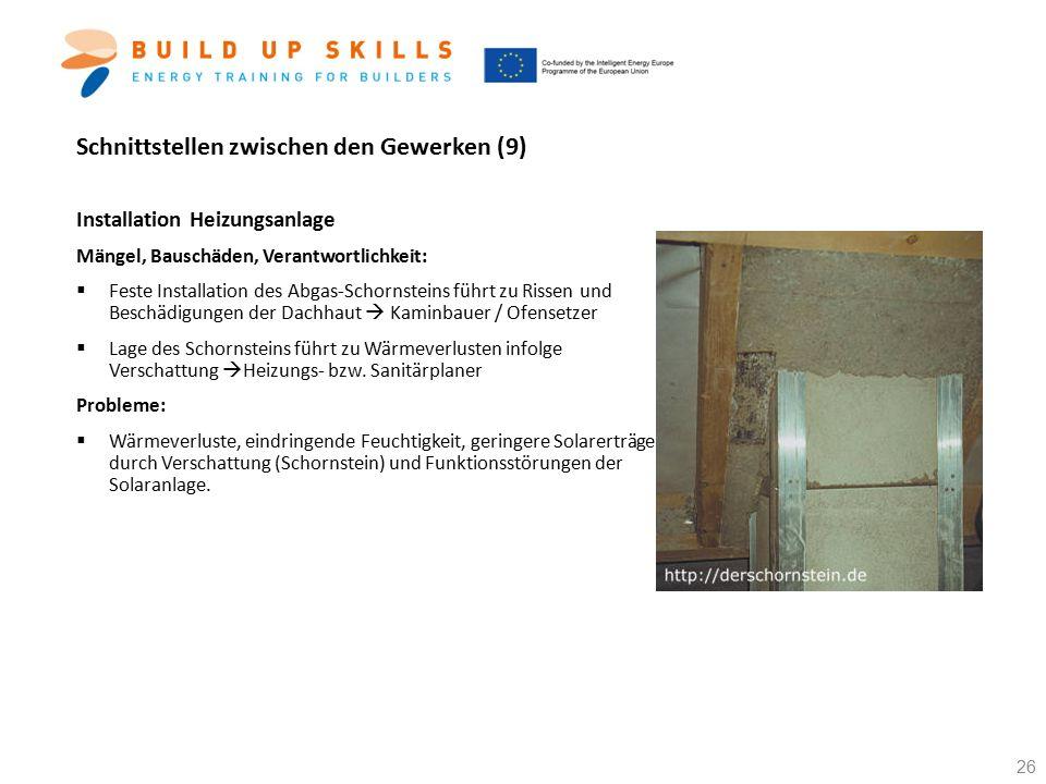 Schnittstellen zwischen den Gewerken (9) Installation Heizungsanlage Mängel, Bauschäden, Verantwortlichkeit:  Feste Installation des Abgas-Schornstei