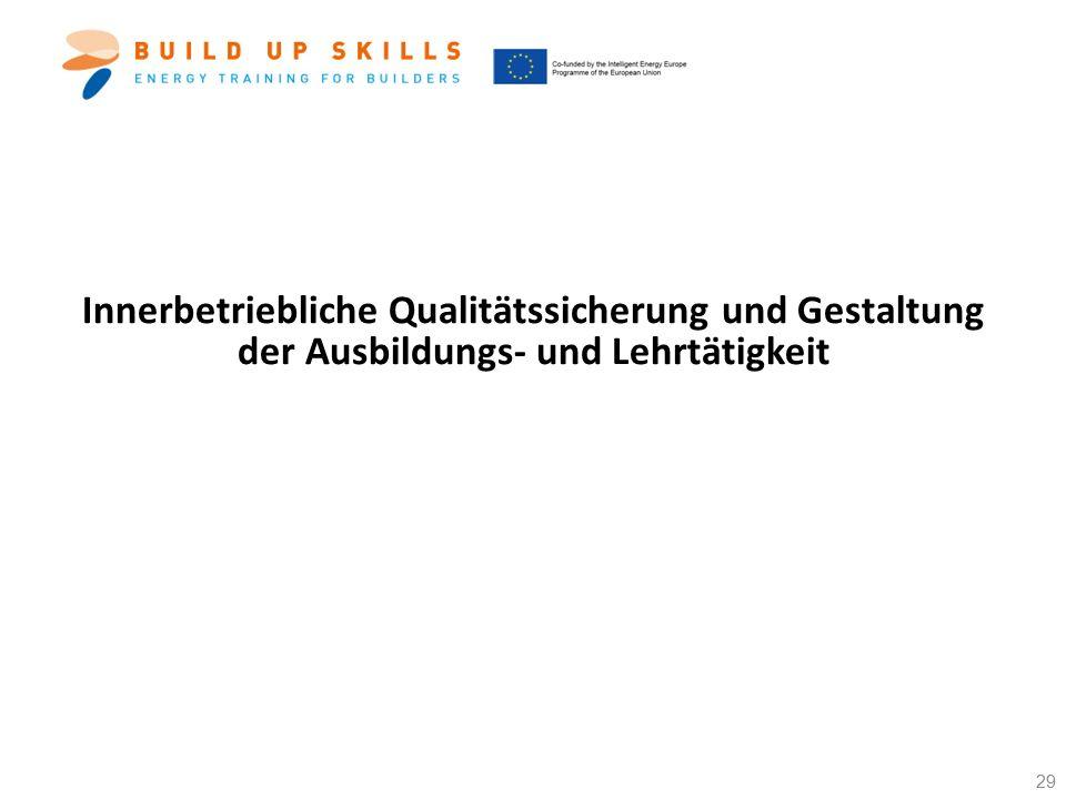 Innerbetriebliche Qualitätssicherung und Gestaltung der Ausbildungs- und Lehrtätigkeit 29