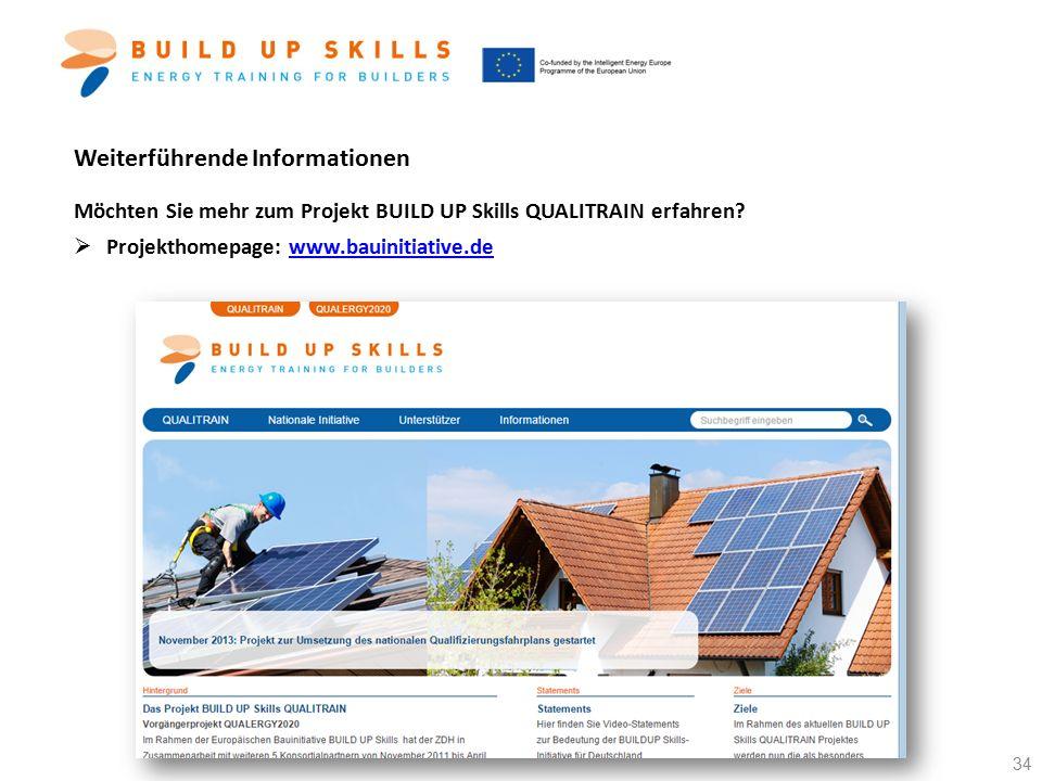 Weiterführende Informationen Möchten Sie mehr zum Projekt BUILD UP Skills QUALITRAIN erfahren?  Projekthomepage: www.bauinitiative.dewww.bauinitiativ