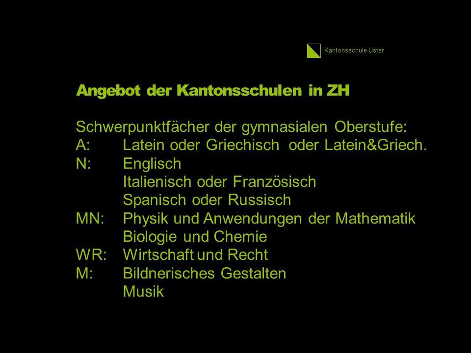 Kantonsschule Uster Angebot der Kantonsschulen in ZH Schwerpunktfächer der gymnasialen Oberstufe: A:Latein oder Griechisch oder Latein&Griech.