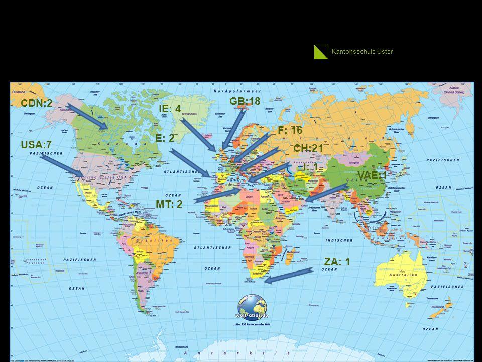 Kantonsschule Uster Lernumfeld II SOL-Fremdsprachenaufenthalt FSA –SOL-Modul (3 Wochen obligatorisch für alle innerhalb von 6 Wochen Sommerferien) –Planung, Durchführung und Evaluation durch die SchülerInnen selb 30 1.