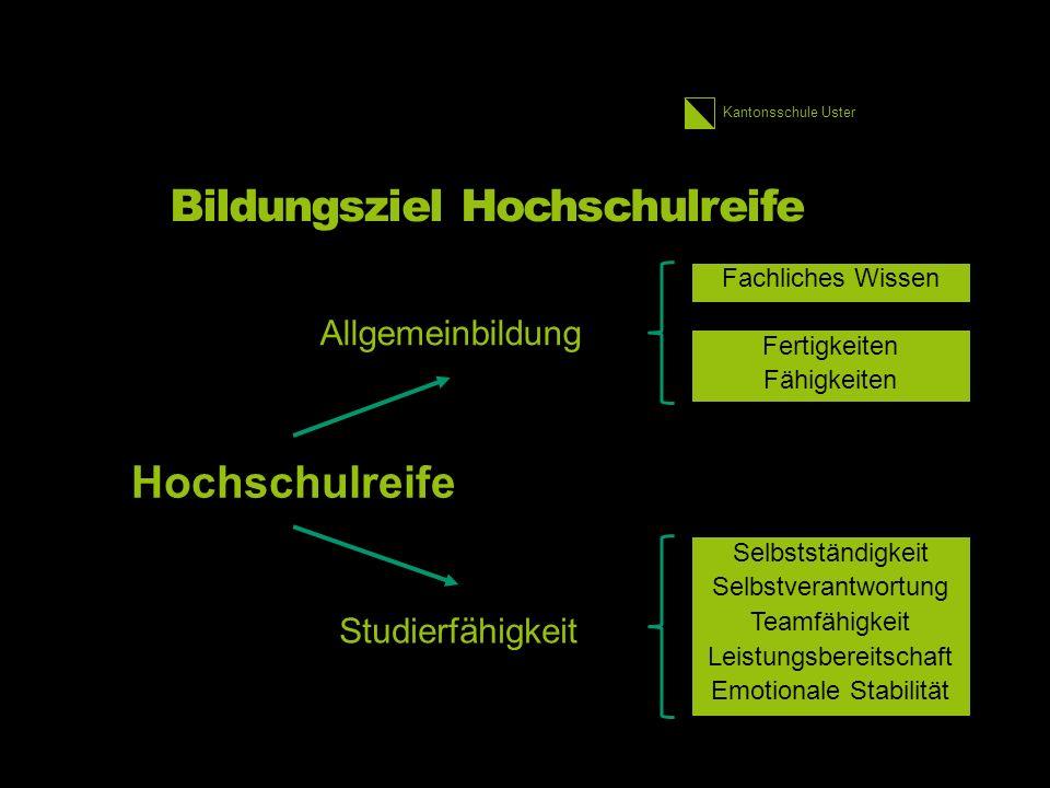 Kantonsschule Uster Bildungsziel Hochschulreife Fachliches Wissen Fertigkeiten Fähigkeiten Selbstständigkeit Selbstverantwortung Teamfähigkeit Leistungsbereitschaft Emotionale Stabilität Hochschulreife Allgemeinbildung Studierfähigkeit