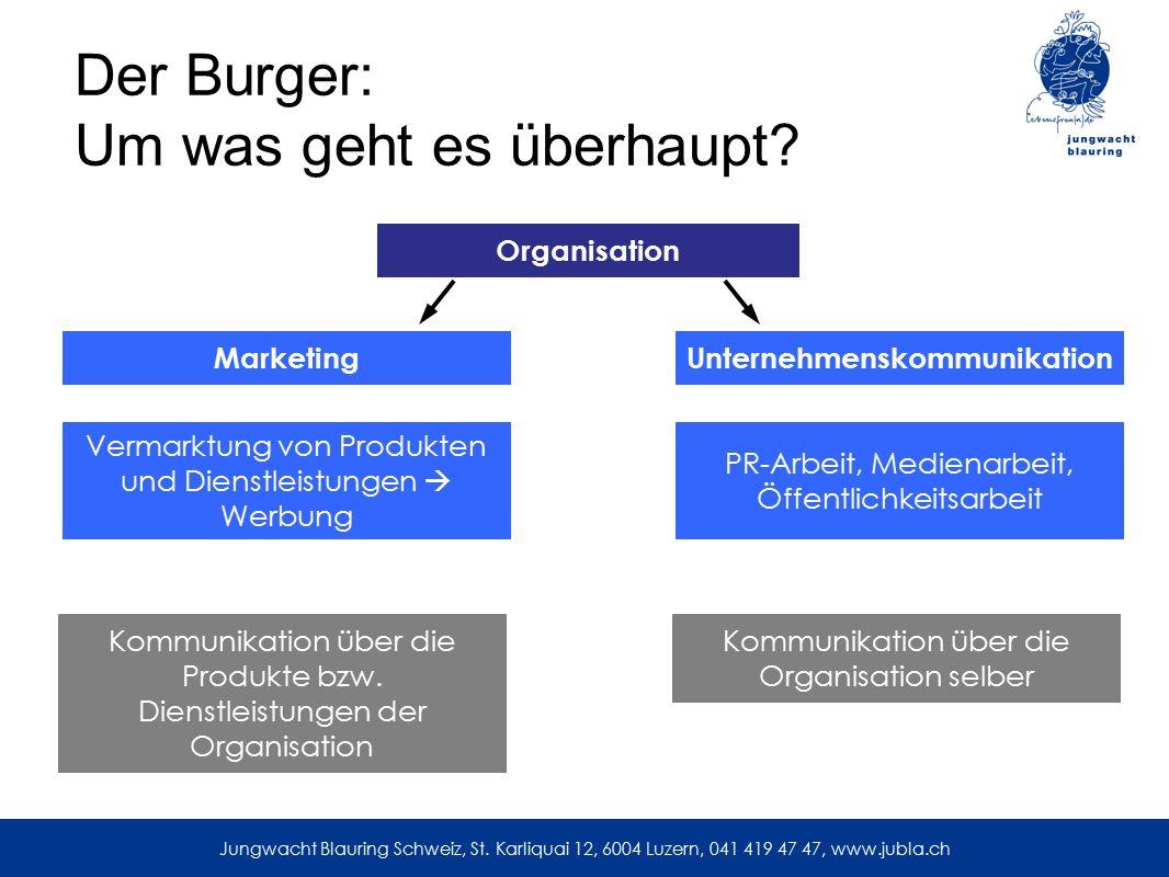 Der Burger: Um was geht es überhaupt? Jungwacht Blauring Schweiz, St. Karliquai 12, 6004 Luzern, 041 419 47 47, www.jubla.ch MarketingUnternehmenskomm