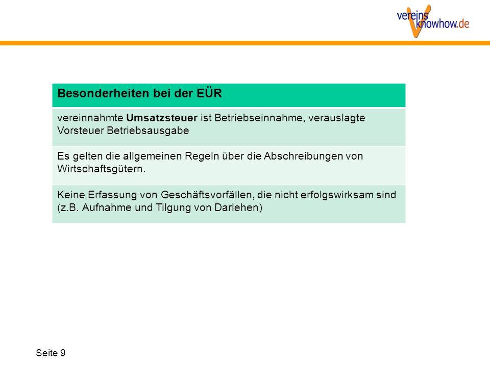 Seite 9 Besonderheiten bei der EÜR vereinnahmte Umsatzsteuer ist Betriebseinnahme, verauslagte Vorsteuer Betriebsausgabe Es gelten die allgemeinen Reg