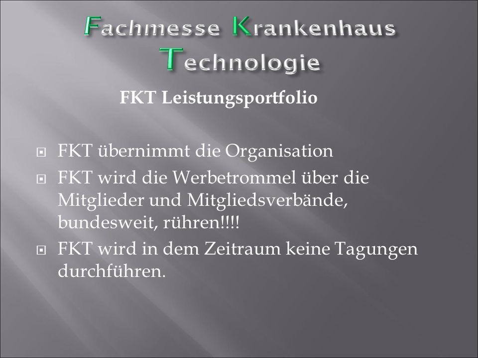 FKT Leistungsportfolio  FKT übernimmt die Organisation  FKT wird die Werbetrommel über die Mitglieder und Mitgliedsverbände, bundesweit, rühren!!!!