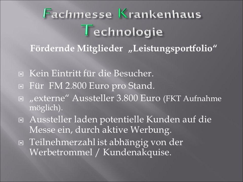 """Fördernde Mitglieder """"Leistungsportfolio""""  Kein Eintritt für die Besucher.  Für FM 2.800 Euro pro Stand.  """"externe"""" Aussteller 3.800 Euro (FKT Aufn"""