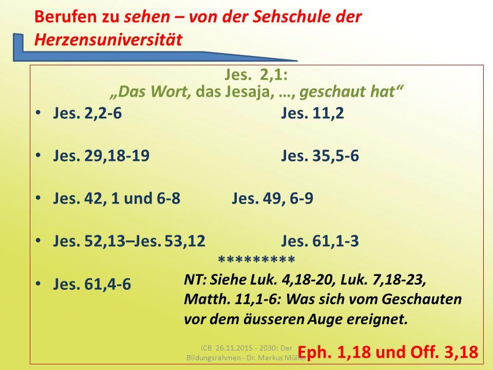 """Berufen zu sehen – von der Sehschule der Herzensuniversität Jes. 2,1: """"Das Wort, das Jesaja, …, geschaut hat"""" Jes. 2,2-6Jes. 11,2 Jes. 29,18-19Jes. 35"""
